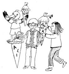 Schulanfänger - Junge, Ali, Mädchen, Lia, Rabe Lu mit Schultüten, Vorfreude auf den Schulanfang, Schultüten, Schulbeginn