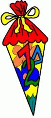 Schultüte farbig - Schultüte, Zuckertüte, Einschulung, Schulanfang, Anlaut Sch, Anlaut Z, Lautbildung, Einzahl, Singular