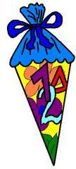 Schultüte farbig - Schultüte, Einschulung, Zuckertüte, Schulanfang, Anlaut Sch, Anlaut Z, Lautbildung, Einzahl, Singular