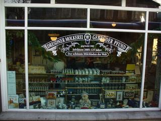 Molkerei - Molkerei, Dresden, Kult, Geschichte, Milchprodukte, Geschäft, Souvenirladen, Auslage, Laden, Greißlerei, Schaufenster