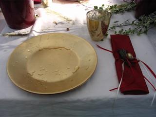 Tischdekoration *Dornröschen*#2 - Tischdekoration, Teller, Märchen, märchenhaft, gold, Becher, Besteck, Serviette