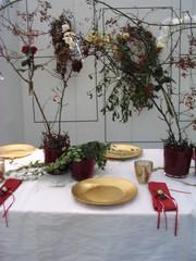 Tischdekoration *Dornröschen*#3 - Tischdekoration, Teller, Märchen, märchenhaft, gold, Becher, Besteck, Serviette, verwachsen