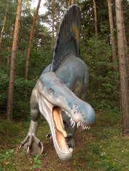 Dinosaurier in einem Dino-Park #25 - Spinosaurus - Urzeit, Dinosaurier, Saurier, groß, ausgestorben, Urzeittier, Urzeittiere, gefährlich, Krallen, Echse, Evolution, Drache, Biologie, Dino, Fossil, Spinosaurus, Fleischfresser, Kreide, Platte, Zähne