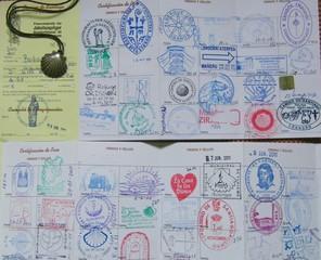 Jakobsweg#1 - Jakobsweg, Pilger, Pilgerausweis, Ausweis, Apostel, Jakobus, Santiago de Compostela, Spanien