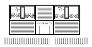 Kindergarten - Gebäude, Stadt, Kindergarten, KiTa, Kindertagesstätte, Vorschule
