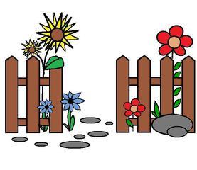Garten - Garten, Zaun, Blumen, Pflanzen, Anlaut G, Lattenzeun, Latte, Steine, Stein
