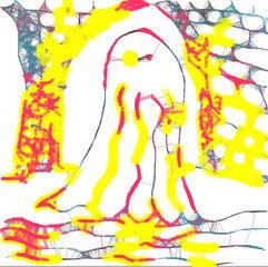 Gespenst im Burgkeller – ganz bunt - Geist, Gespenst, Spuk, Spukgestalt, Schreckgestalt, unterirdische Gänge, gruselig, Halloween, Märchen, Horror, erschrecken