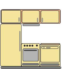 Küche - Küche, Küchenzeile, Kühlschrank, Herd, Elekroherd, Spülmaschine, Geschirrspülmaschine, Arbeitsfläche, Backofen, Wohnung, kochen, Raum, Anlaut K