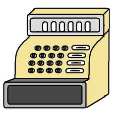Kasse - Kasse, Supermarkt, Registrierkasse, Geld, Geldscheine, Münzen, Einzelhandel, kassieren, bezahlen, Anlaut K, Grafik, Wörter mit Doppelkonsonanten