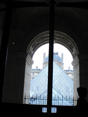 Paris Louvre Durchblick - Frankreich, Paris, Museen, Louvre, Pyramide, musée, Blick, Glas
