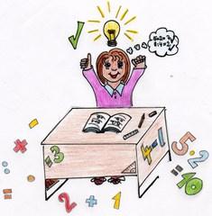 Kind beim Rechnen - Kind, Mathe, Mathematik, Idee, Nachdenken, Knobeln, Illustration, Zahl, Ziffer, Schüler, Schülerin, Schule
