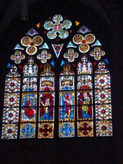 Oppenheimer Kirche #1 - Glaskunst, Kirchenfenster, Rosettfenster, bunt, Oppenheim, Kirche, Glasfenster, Glasscheiben, Bleiverglasung, Gotik, gotisch