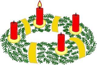 Adventskranz mit einer brennenden Kerze#1 - Advent, Kranz, Adventskranz, Adventszeit, Vorweihnachtszeit, Adventssonntag, Kerze, Kerzen, eins, erste, brennen, leuchten, Licht