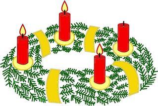 Adventskranz mit drei brennenden Kerzen#3 - Advent, Kranz, Adventskranz, Adventszeit, Vorweihnachtszeit, Adventssonntag, Kerze, Kerzen, drei, dritte, brennen, leuchten, Licht