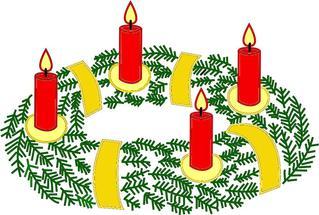 Adventskranz mit vier brennenden Kerzen#4 - Advent, Kranz, Adventskranz, Adventszeit, Vorweihnachtszeit, Adventssonntag, Kerze, Kerzen, vier, vierte, brennen, leuchten, Licht