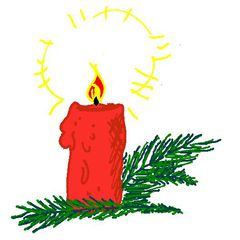 brennende Kerze mit Zweig - brennend, Kerze, Zweig, Advent, Weihnachten, brennen, leuchten, Wachs, Licht