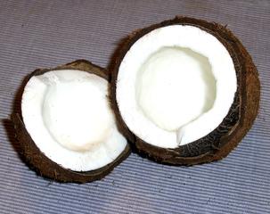 Kokosnuss #4 - Kokosnuss, Frucht, Steinfrucht, Schale, Fasern, Kokospalme, Fruchtfleisch, weiß, Hälfte, offen