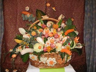 Gemüse-Blumenkorb - Gemüse, Dekoration, Buffet, Essen, Lebensmittel, Schnitzerei