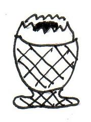 Eierbecher - Eierbecher, Behälter, Geschirr, Service, Frühstück, Frühstücksei, Eier, gekocht, frühstücken, Zeichnung, Wörter mit ei, Wörter mit ch