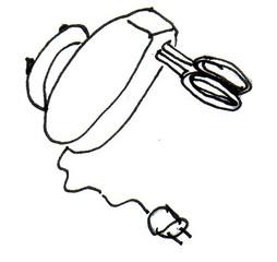 Elektrisches Handrührgerät - elektrische Küchengeräte, Multifunktionsküchengerät, Mixer, Rührer, Handrührgerät, Handmixer, Quirl, Küchenmaschine, Küchengerät, kneten, schlagen, mischen, rühren, vermischen, quirlen, Geschwindigkeit, stufenlos, Elektromotor, Zeichnung
