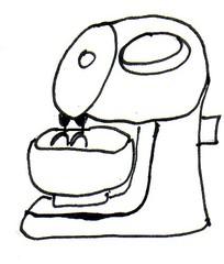 Elektrisches Handrührgerät - elektrische Küchengeräte, Multifunktionsküchengerät, Mixer, Rührer, Handrührgerät, Küchenmaschine, Küchengerät, Küchenhelfer, elektrisch, kneten, schlagen, mischen, rühren, vermischen, Tischständer, Geschwindigkeit, stufenlos, Elektromotor, Zeichnung, Wörter mit ü