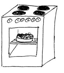 Herd - Herd, Elektroherd, Küchenherd, Ofen, kochen, backen, braten, Küche, elektrische Küchengeräte, Kochfeld, Herdplatte, Anlaut H, Backofen, Zeichnung