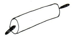 Nudelholz - Nudelholz, Nudelrolle, Nudelwalker, Wellholz, Wallholz, Rollholz, Teigrolle, massiv, Holz, kugelgelagert, Griff, Buche, auswellen, wellen, Nudelholz, ausrollen, Teig, backen, Küchengerät, Küchenhelfer, Küchenutensilie, Zeichnung
