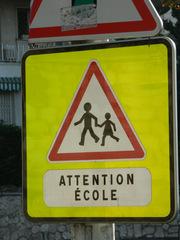 Attention école - Frankreich, civilisation, panneau, Verkehrsschild, Achtung, Schule, Attention, école