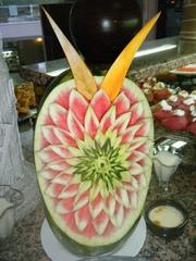 Melonen-Deko#1 - Dekoration, Melone, Südfrüchte, Buffet, Essen, Lebensmittel, Schnitzerei