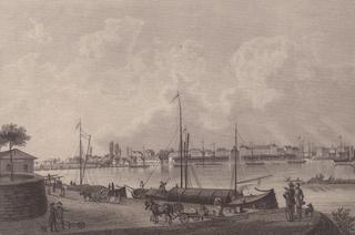 Ludwigshafen - Ludwigshafen, 1861, Rhein, Hafen, Binnenhafen, Schiffe, Frachtschiffe, Schubkarre, Pferdefuhrwerk, Fässer, Kahn, Kähne, Stich