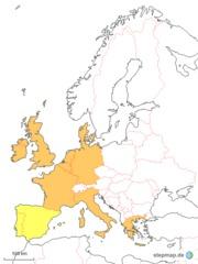 Europa 1986 - Spanien, Portugal, Griechenland, Dänemark, Irland, Großbritannien, UK, Belgien, Deutschland, Frankreich, Italien, Luxemburg, Niederlande, Mitgliedstaaten, Gründerstaaten, Europa, Mitteleuropa, europäisch, Montanunion, Wirtschaftsverband, Vorläufer, Europäische Gemeinschaft, EGKS, EG, EWG, Europäische Union, EU, Zusammenschluss, Vereinigung, Gemeinschaft, Karte, 1986