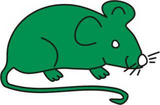 Maus grün - Maus, Nagetier, Anlaut M, fröhlich, Illustration, Farbe, grün