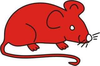 Maus rot - Maus, Nagetier, Anlaut M, fröhlich, Illustration, Farbe, rot