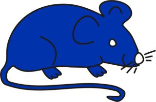 Maus blau - Maus, Mäuse, Anlaut M, Illustration, fröhlich, Farbe, blau
