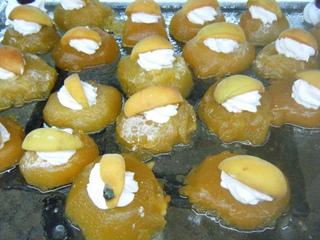 Glasierte Pfirsiche - glasierte Pfirsiche, Dessert, Nachspeise, Nachtisch, süß