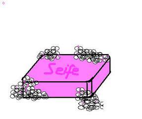 Seife - Seife, Seifenstück, Körperpflege, Schaum, Bad, Toilette, Anlaut S, Quader, Waschmittel, Lauge, Chemie, waschen, einseifen