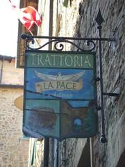 Trattoria - Trattoria, Restaurant, Schild, Taube, Frieden, Volterra, Toskana, Italien, italienisches Essen