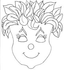 Maske - Blumenkopf - Fasching, Karneval, Maske, Faschingsmaske, Karnevalsmaske, verbergen, verstecken, verkleiden, verbergen, fantasievoll, Blumenkopf, Ausmalbild