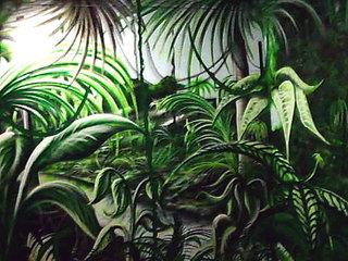 Gemalter Dschungel - Bild, Wandbild, Dschungel, Regenwald, Tropen, Vegetation, malen