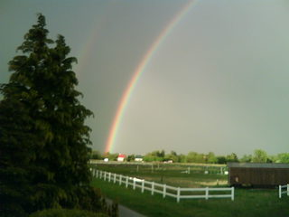 Regenbogen - Regenbogen, Reitplatz, Wetterphänomen, Regen, Spektralfarben, Kreisbogen, Farbe, Optik, Brechung, Lichtbrechung, Reflexion, Wetter, Farbzerlegung, Wettererscheinung