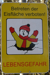 Hinweisschild: Eisfläche - Eis, Eisfläche, Gefahr, Hinweisschild, Verbot, Winter