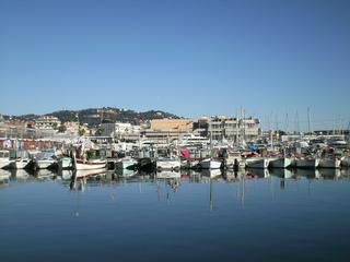 Cannes - Frankreich, Cannes, Mittelmeer, Hafen, port, palais des festivals, Festivalpalast, Wasser, Boot, Schiff, Yacht, Spiegelung, Panorama