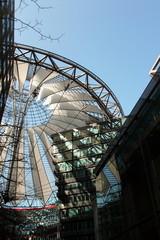 Berliner Architektur - Sony Center #1 - Ansicht, Aussicht, Konstruktion, Dach, Perspektive, Kunst, Glas, Stahl, Stoff