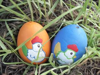Ostereier aus Ton - Ostern, Eier, Dekoration, Eier im Nest, Schmuck, Tradition, Brauchtum