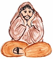 Jünger an Pfingsten #2b - Pfingsten, Jünger, fröhlich, traurig, Schneidersitz, sitzend