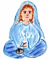 Jünger an Pfingsten #4b - Pfingsten, Jünger, fröhlich, traurig, Schneidersitz, sitzend, Maria