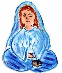 Jünger an Pfingsten #4a - Pfingsten, Jünger, fröhlich, traurig, Schneidersitz, sitzend, Maria