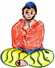 Jünger an Pfingsten #6b - Pfingsten, Jünger, fröhlich, traurig, Schneidersitz, sitzend, nachdenklich, nachdenken, überlegen