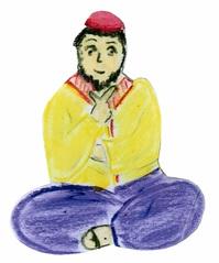Jünger an Pfingsten #7b - Pfingsten, Jünger, fröhlich, erleichtert, besonnen, nachdenklich, erweckt, beseelt, Schneidersitz, sitzend