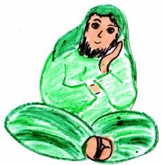 Jünger an Pfingsten #10b - Pfingsten, Jünger, fröhlich, traurig, Schneidersitz, sitzend